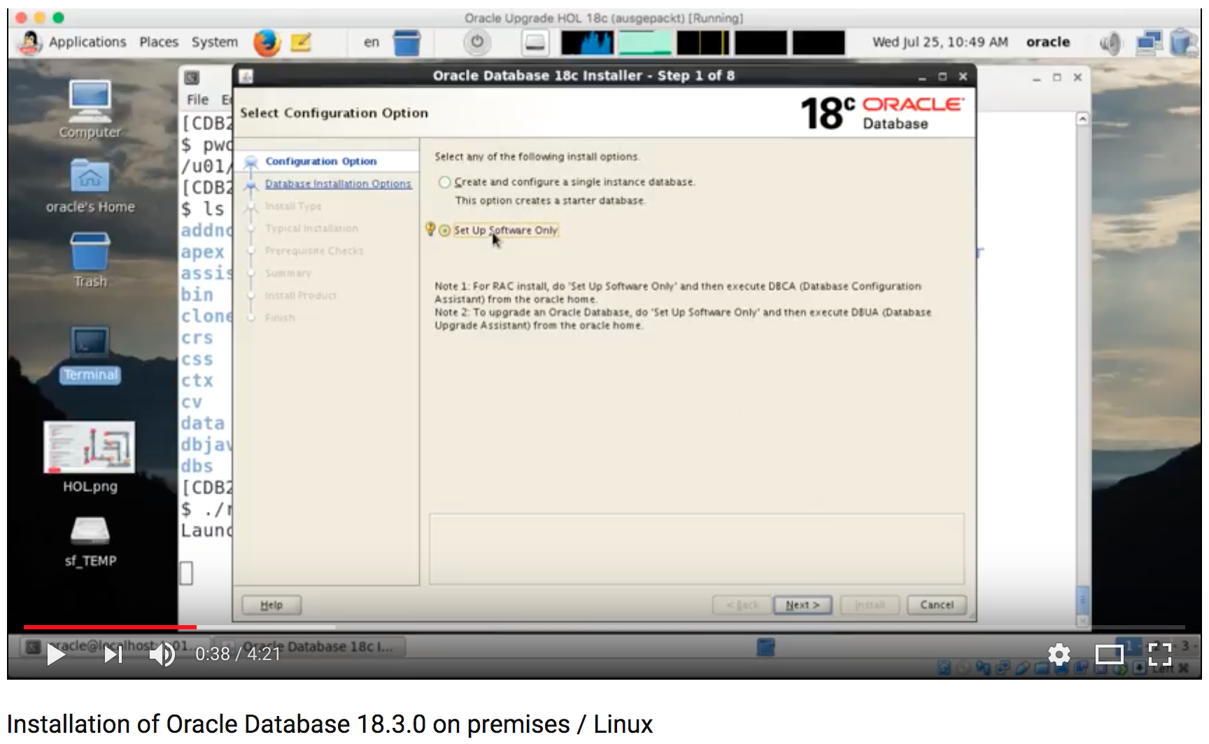 Installation of Oracle Database 18 3 0 on premises / Linux
